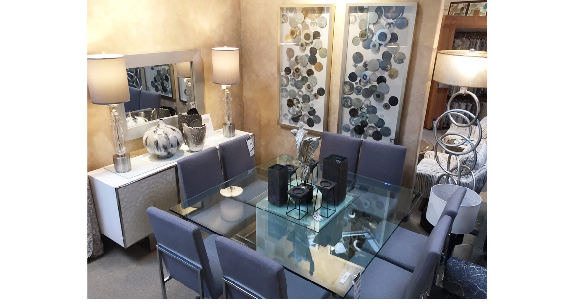 dining set steel gray fabric chairs