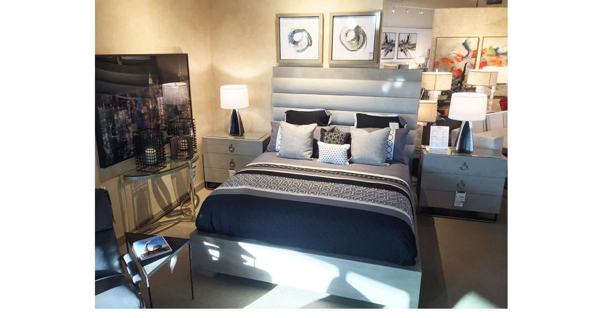 navy and gray bedroom set