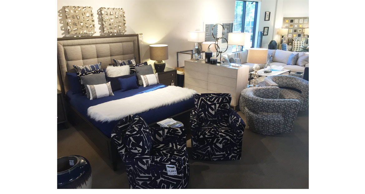 navy and white fur bedroom set