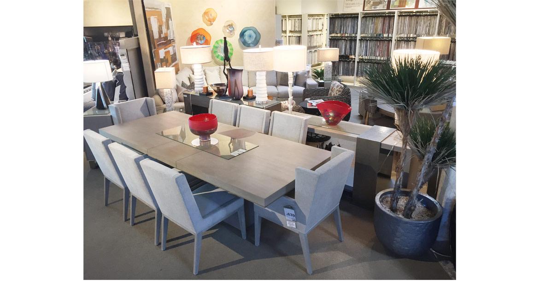 contemporary light gray dining set