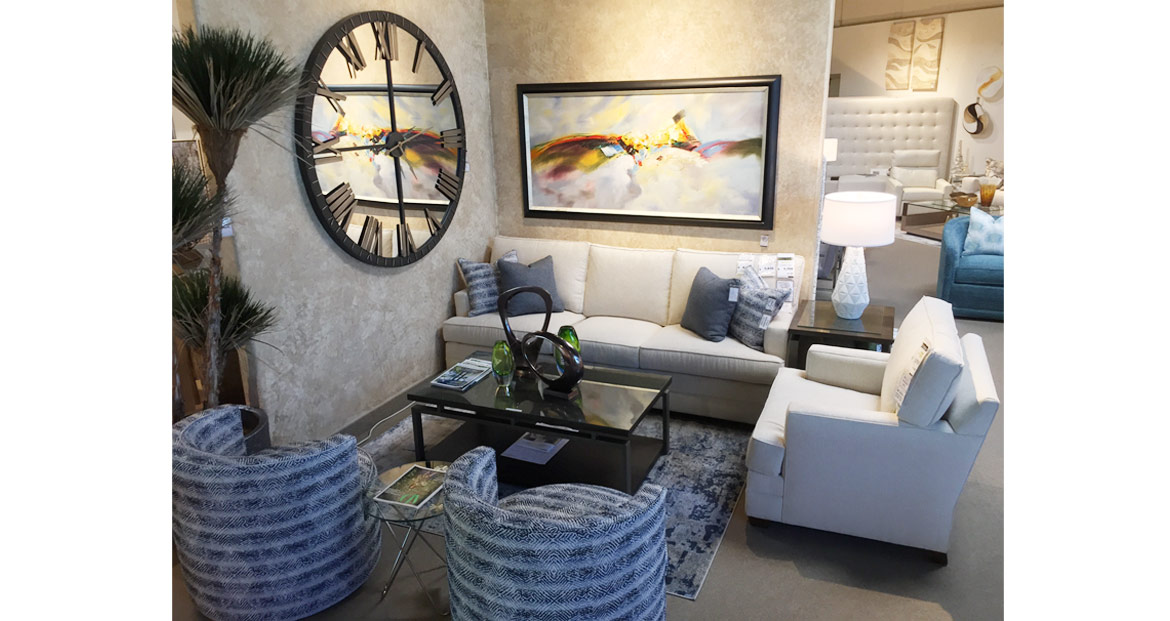 white sectional near clock